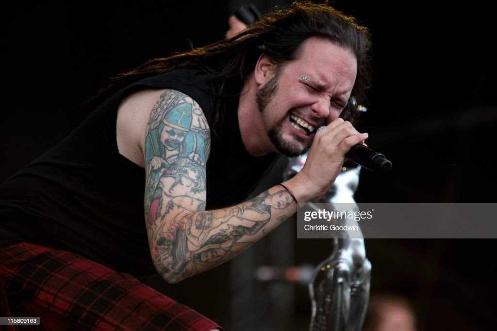 Jonathan Davis of Korn performs on stage on Day 1 of Download Festival at Donington Park on June 10, 2011 in Castle Donington, England.