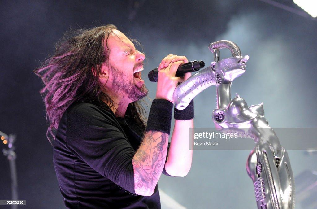 Jonathan Davis of Korn performs onstage during Rockstar Energy Mayhem Festival at Nikon at Jones Beach Theater on July 30 2014 in Wantagh New York