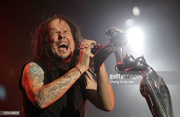 Jonathan Davis of Korn performs performs on stage during the day two of the 2011 Pentaport Rock Festival on August 6 2011 in Incheon South Korea