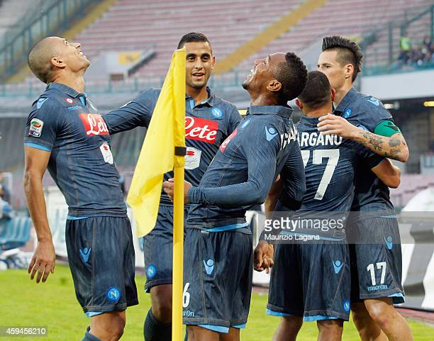 Jonathan De Gouzman of Napoli celebrates after scoring his team's third goal during the Serie A match between SSC Napoli and Cagliari Calcio at...