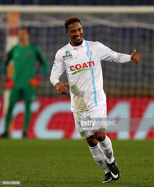 Jonathan De Guzman of ChievoVerona celebrates after scoring the opening goal during the Serie A match between AS Roma and AC ChievoVerona at Stadio...
