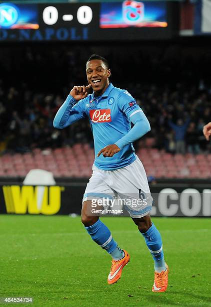 Jonathan De Guzman of Napoli celebrates after scoring goal 10 during the UEFA Europa League Round of 32 football match between SSC Napoli and...