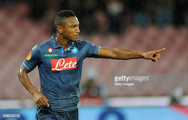 Jonathan de Guzman of Napoli celebrates after scoring goal 20 during the UEFA Europa League football match between SSC Napoli and BSC Young Boys at...