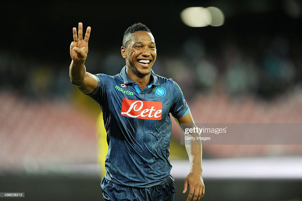 Jonathan De Guzman of Napoli celebrates after scoring goal 3-0 during the UEFA Europa League football match between SSC Napoli and BSC Young Boys at the San Paolo Stadium on November 6, 2014 in Naples, Italy.