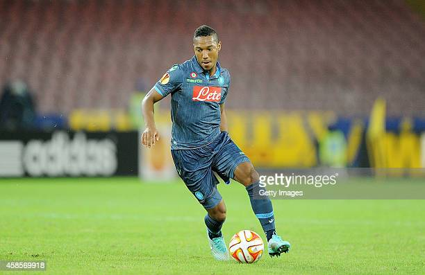 Jonathan De Guzman of Napoli in action during the UEFA Europa League football match between SSC Napoli and BSC Young Boys at the San Paolo Stadium on...