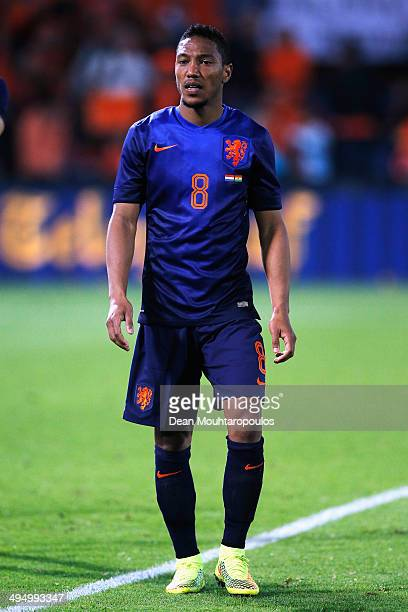 Jonathan De Guzman of Netherlands thanks the fans after the International Friendly match between Netherlands and Ghana at De Kuip on May 31 2014 in...