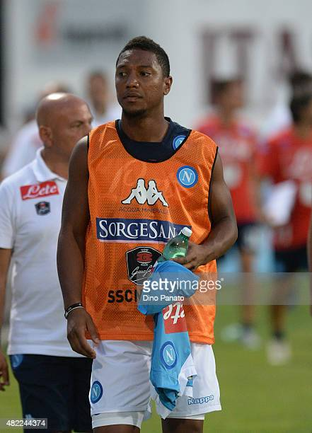 jonathan De Guzman of SSC Napoli looks on during the preseason frienldy match between SSC Napoli and Feralpi Salo at Stadio Briamasco on July 24 2015...