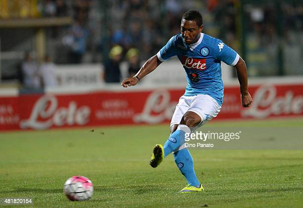 jonathan De Guzman of SSC Napoli scores his team's goal during the preseason frienldy match between SSC Napoli and Feralpi Salo at Stadio Briamasco...