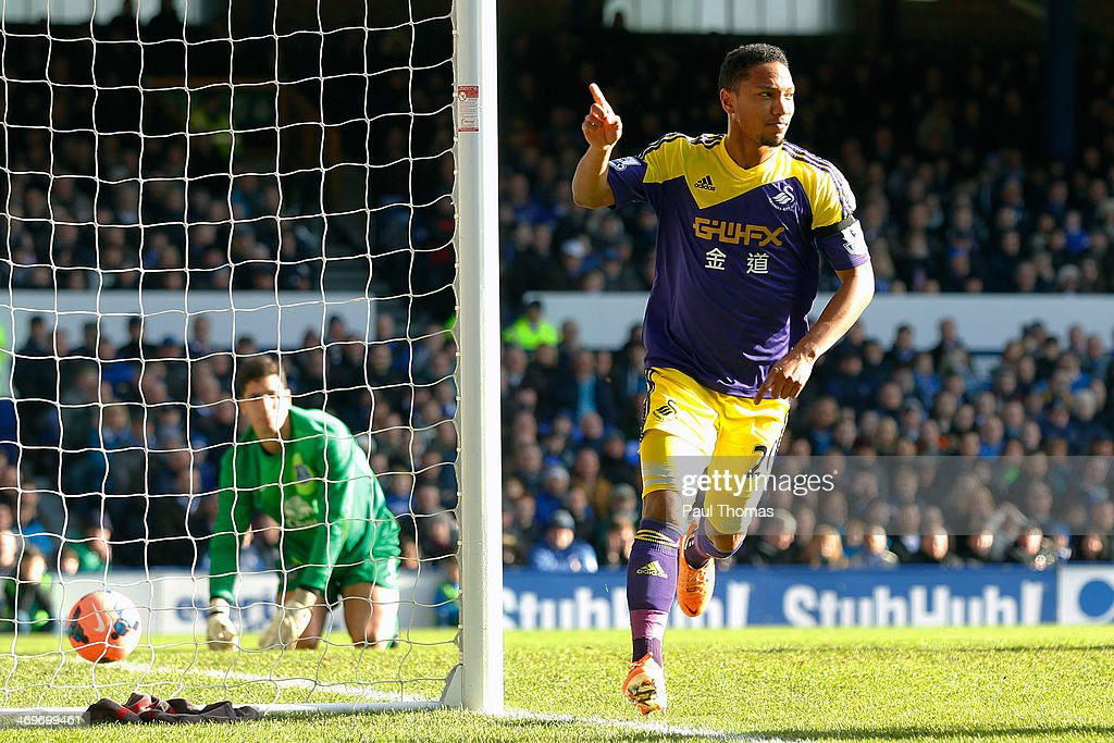 Jonathan de Guzman of Swansea City celebrates his goal during the FA Cup Fifth Round match between Everton and Swansea City at Goodison Park on February 16, 2014 in Liverpool, England.