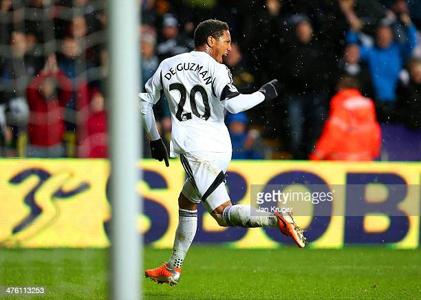 Jonathan de Guzman of Swansea City celebrates scoring the opening goal during the Barclays Premier League match between Swansea City and Crystal...