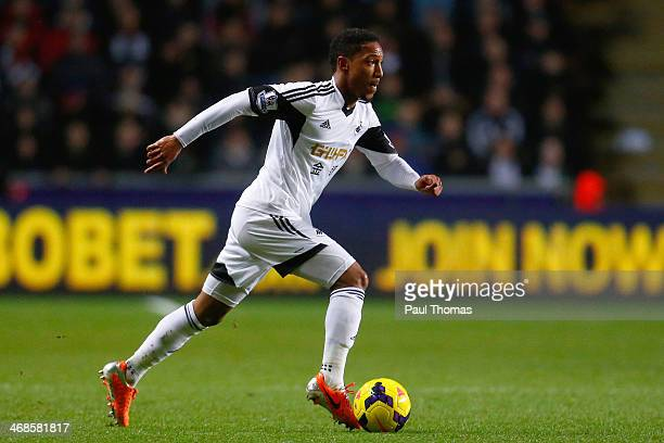Jonathan de Guzman of Swansea in action during the Barclays Premier League match between Swansea City and Cardiff City at the Liberty Stadium on...