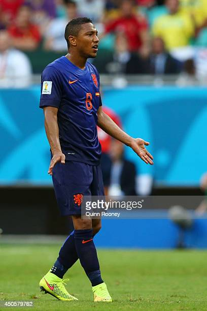 Jonathan de Guzman of the Netherlands reacts during the 2014 FIFA World Cup Brazil Group B match between Spain and Netherlands at Arena Fonte Nova on...