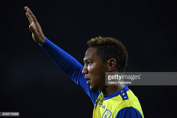 Jonathan De Guzmani of AC ChievoVerona gestures during the Serie A match between FC Torino and AC ChievoVerona at Stadio Olimpico di Torino on...