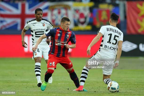 Jonathan Delaplace of Caen and Rami Bensebaini of Rennes during the Ligue 1 match between SM Caen and Stade Rennais Rennes at Stade Michel D'Ornano...
