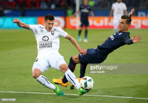 Jonathan Delaplace of SM Caen and Giovani Lo Celso of PSG during the French League 1 match between Paris SaintGermain and Stade Malherbe de Caen at...