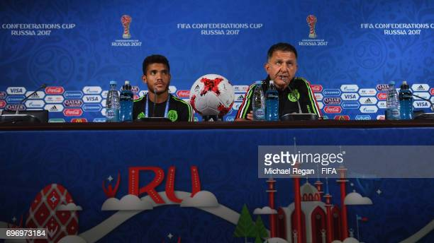 Jonathan Dos Santos and Mexico manager Juan Carlos Osorio speak to the media during the Mexico Training and Press Conference on June 17 2017 in Kazan...