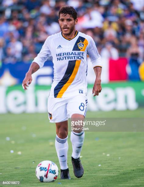 Jonathan dos Santos of Los Angeles Galaxy during the Los Angeles Galaxy's MLS match against San Jose Earthquakes at the StubHub Center on August 27...