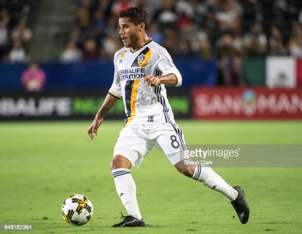 Jonathan dos Santos of Los Angeles Galaxy during the Los Angeles Galaxy's MLS match against Toronto FC at the StubHub Center on September 16 2017 in...
