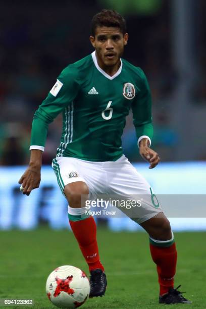 Jonathan dos Santos of Mexico drives the ball during the match between Mexico and Honduras as part of the FIFA 2018 World Cup Qualifiers at Azteca...