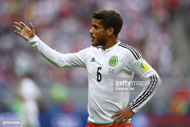 Jonathan Dos Santos of Mexico gestures during the FIFA Confederations Cup Russia 2017 Group A match between Mexico and Russia at Kazan Arena on June...