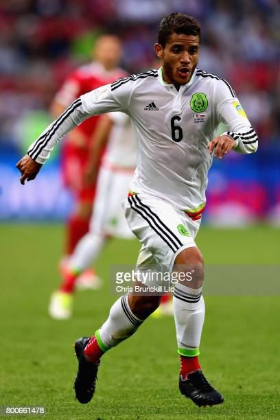 Jonathan Dos Santos of Mexico in action during the FIFA Confederations Cup Russia 2017 Group A match between Mexico and Russia at Kazan Arena on June...