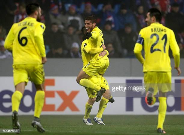 Jonathan Dos Santos of Villarreal celebrates after scoring against Viktoria Plzen during the UEFA Europa League football match between FC Viktoria...