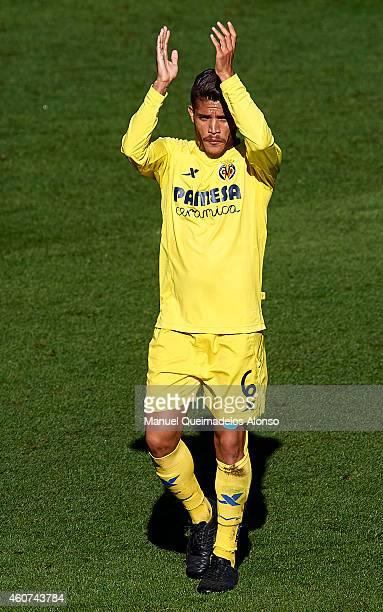 Jonathan Dos Santos of Villarreal celebrates during the La Liga match between Villarreal CF and Deportivo de La Coruna at El Madrigal on December 21...