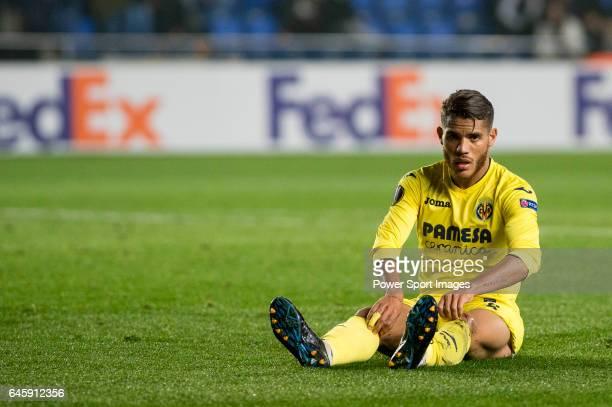 Jonathan Dos Santos of Villarreal CF at the conclusion of Villarreal CF vs AS Roma part of the UEFA Europa League 201617 Round of 32 at the Estadio...