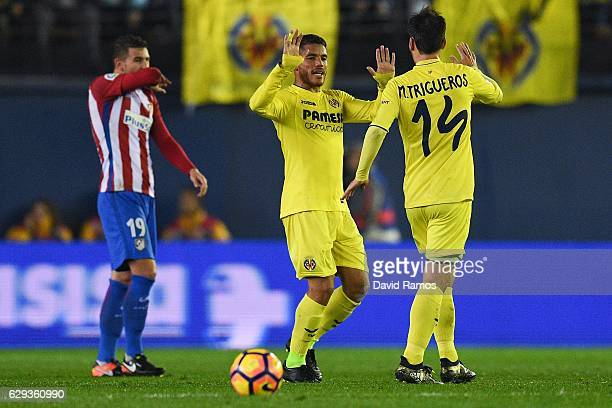 Jonathan dos Santos of Villarreal CF celebrates with his team mate Manu Trigueros after scoring his team's second goal during the La Liga match...