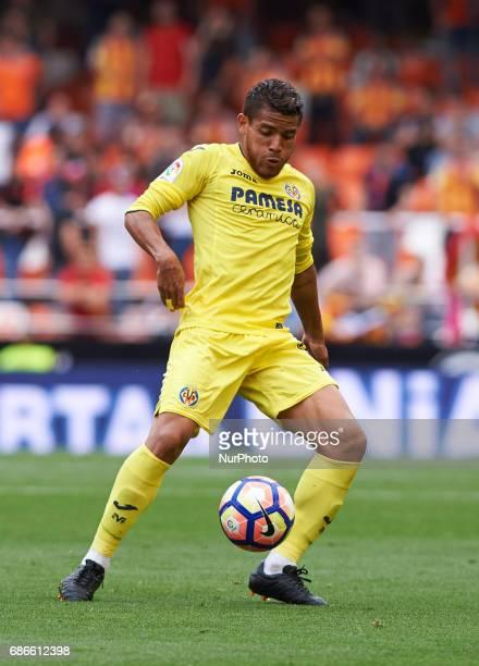 Jonathan Dos Santos of Villarreal CF during their La Liga match between Valencia CF and Villarreal CF at the Mestalla Stadium on 21th May 2017 in...