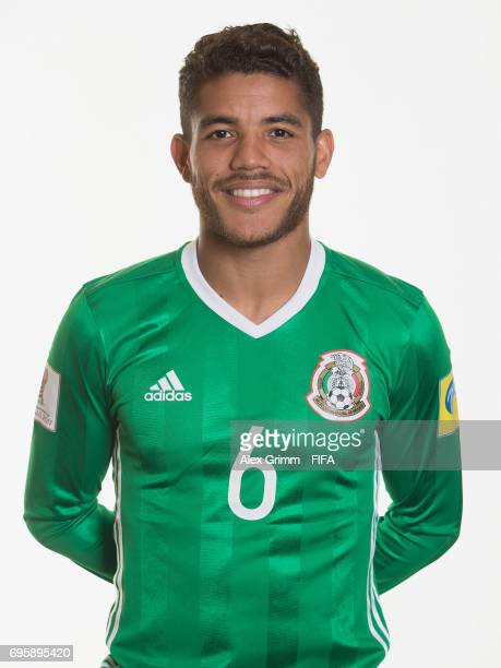 Jonathan dos Santos poses for a picture during the Mexico team portrait session on June 14 2017 in Kazan Russia