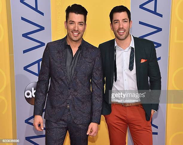 Jonathan Drew and Drew Scott of Property Brothers attend the 50th annual CMA Awards at the Bridgestone Arena on November 2 2016 in Nashville Tennessee