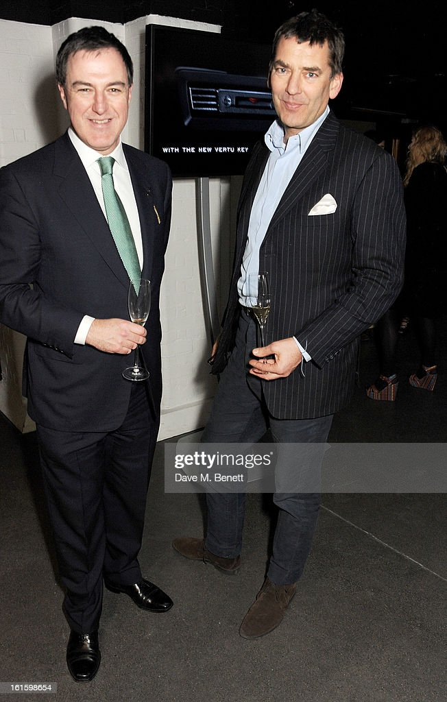 Jonathan Driver (L) and Bill Amberg attend the launch of the Vertu Ti at the London Film Museum, Covent Garden on February 12, 2013 in London, England.