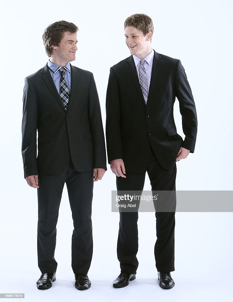 Jonathan Drouin and Nathan MacKinnon have their formal portrait taken during the 2013 NHL Combine May 30, 2013 at the Westin Bristol Place Hotel in Toronto, Ontario, Canada.