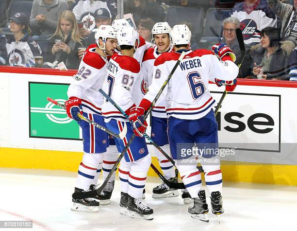 Jonathan Drouin Artturi Lehkonen Max Pacioretty Andrew Shaw and Shea Weber of the Montreal Canadiens celebrate a second period goal against the...