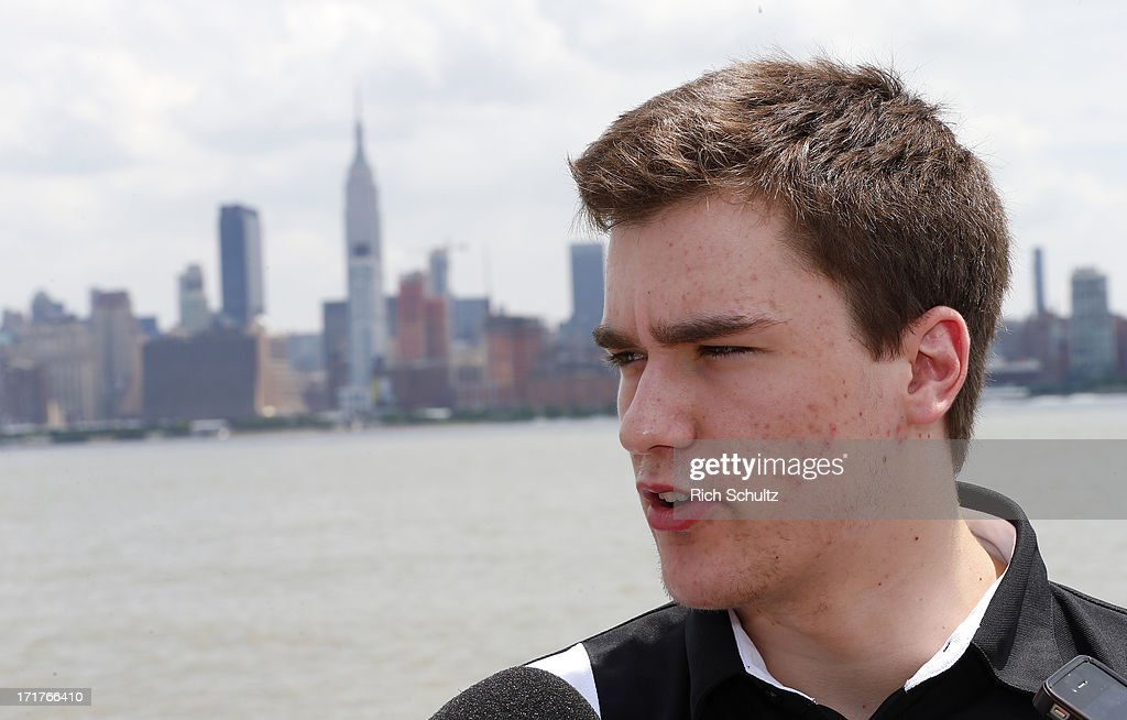Jonathan Drouin during a media availability on June 28, 2013 in Weehawken, New Jersey. The NHL will be holding it's player draft Sunday at the Prudential Center in Newark.