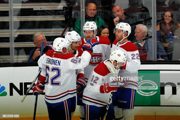 Jonathan Drouin of the Montreal Canadiens celebrates his first period goal with teammates at SAP Center on October 17 2017 in San Jose California