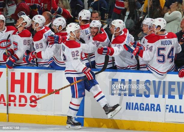 Jonathan Drouin of the Montreal Canadiens celebrates his game winning shootout goal against the Buffalo Sabres during an NHL game on October 5 2017...