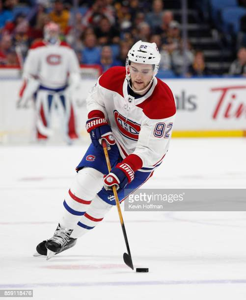 Jonathan Drouin of the Montreal Canadiens during the game against the Buffalo Sabres at the KeyBank Center on October 5 2017 in Buffalo New York