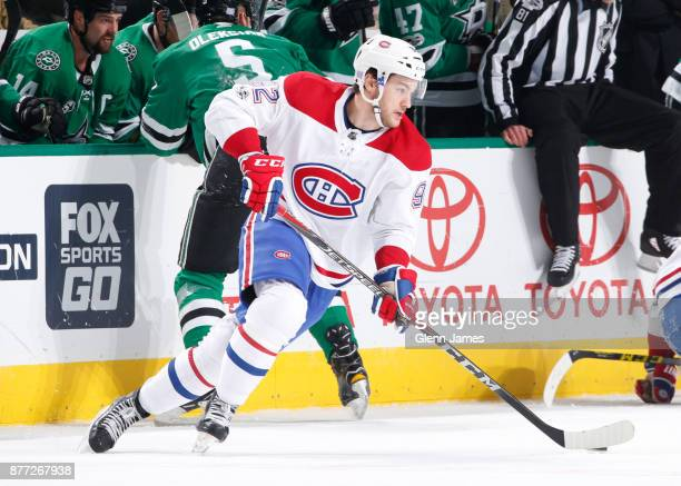 Jonathan Drouin of the Montreal Canadiens handles the puck against the Dallas Stars at the American Airlines Center on November 21 2017 in Dallas...