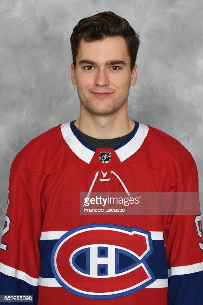 Jonathan Drouin of the Montreal Canadiens poses for his official headshot for the 20172018 season on September 14 2017 at the Bell Sports Complex in...