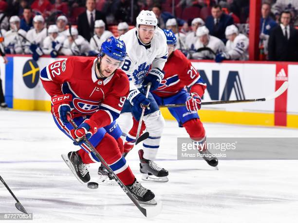 Jonathan Drouin of the Montreal Canadiens skates after the puck against the Toronto Maple Leafs during the NHL game at the Bell Centre on November 18...