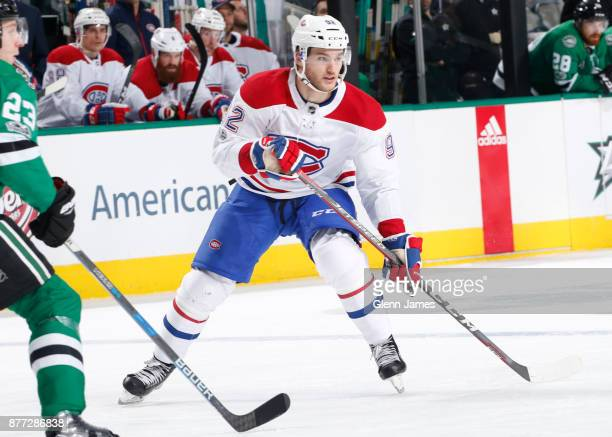 Jonathan Drouin of the Montreal Canadiens skates against the Dallas Stars at the American Airlines Center on November 21 2017 in Dallas Texas