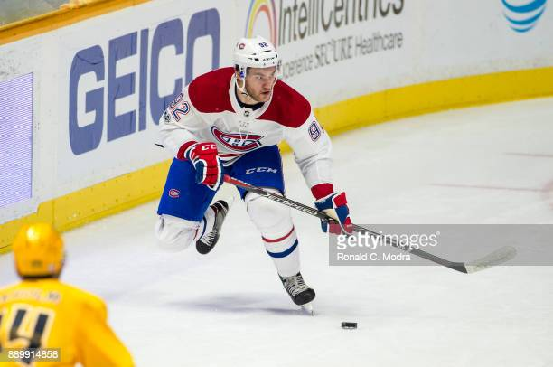 Jonathan Drouin of the Montreal Canadiens skates against the Nashville Predators during an NHL game at Bridgestone Arena on November 22 2017 in...