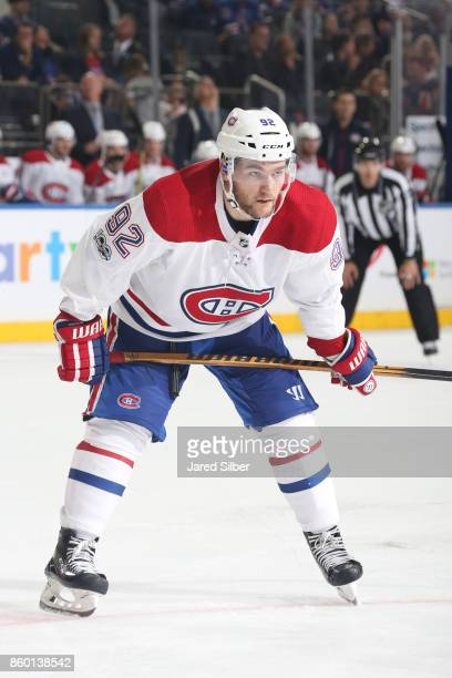 Jonathan Drouin of the Montreal Canadiens skates against the New York Rangers at Madison Square Garden on October 8 2017 in New York City The New...