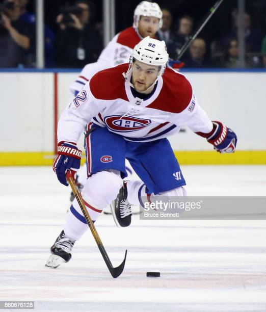 Jonathan Drouin of the Montreal Canadiens skates against the New York Rangers at Madison Square Garden on October 8 2017 in New York City The Rangers...