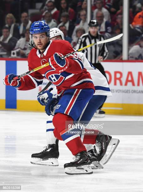 Jonathan Drouin of the Montreal Canadiens skates against the Toronto Maple Leafs in the NHL game at the Bell Centre on October 14 2017 in Montreal...