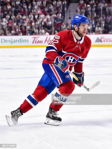 Jonathan Drouin of the Montreal Canadiens skates against the Toronto Maple Leafs during the NHL game at the Bell Centre on October 14 2017 in...