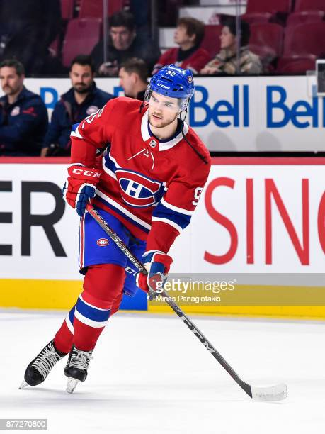 Jonathan Drouin of the Montreal Canadiens skates during the warmup prior to the NHL game against the Toronto Maple Leafs at the Bell Centre on...