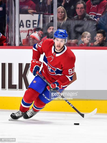 Jonathan Drouin of the Montreal Canadiens skates the puck against the Toronto Maple Leafs during the NHL game at the Bell Centre on November 18 2017...